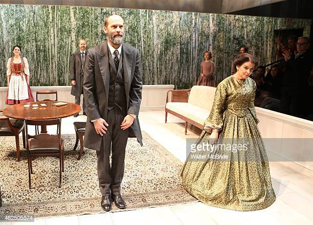 Anthony Edwards and Annabella Sciorra with the cast during the OffBroadway opening night curtain call for 'A Month in the Country' at the Classic...