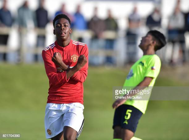 Anthony Elanga of Manchester United celebrates after scoring during the NI Super Cup junior section game between Manchester United and Colina at...