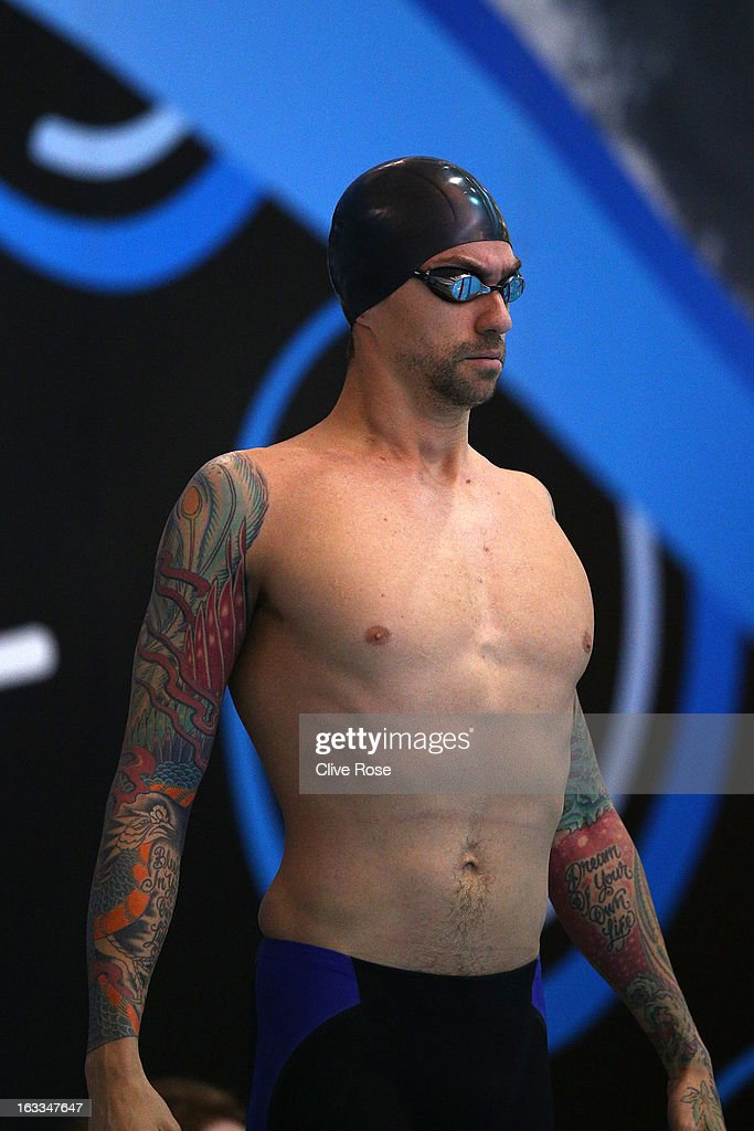 <a gi-track='captionPersonalityLinkClicked' href=/galleries/search?phrase=Anthony+Ervin&family=editorial&specificpeople=3232464 ng-click='$event.stopPropagation()'>Anthony Ervin</a> of USA prepares to compete in the Men's 50m Freestyle heats on day two of the 2013 British Gas International meeting at John Charles Centre for Sport on March 8, 2013 in Leeds, England.