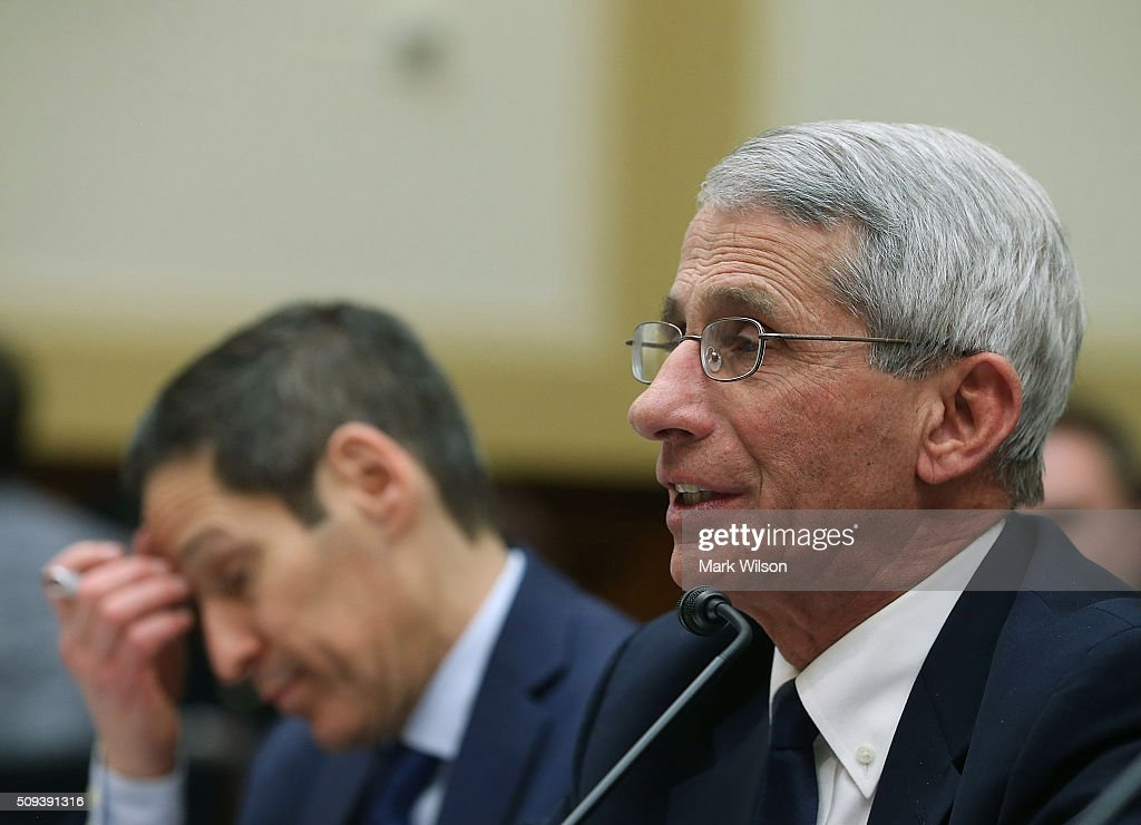Anthony Fauci (R), director of the National Institute of Allergy and Infectious Diseases, testifies while flanked by Tom Frieden, director of the Centers for Disease Control and Prevention, during a House Foreign Affairs Committee hearing on Capitol Hill, February 10, 2016 in Washington, DC. The committee heard testimony from health officials on the Zika virus epidemic, and its threat to the Americas.