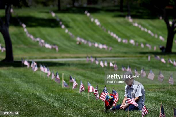 Anthony Ferry of Mission Viejo visits the grave of his father Clarence a US Army veteran and his mother Vincenza at Riverside National Cemetery on...