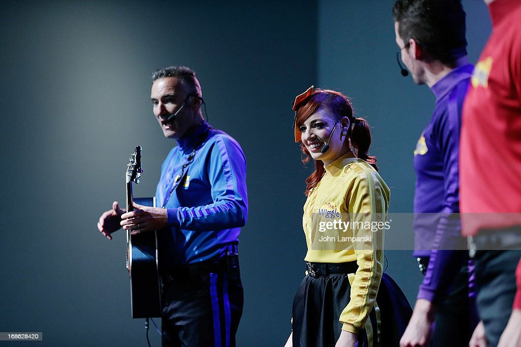 Anthony Field , Emma Watkins and Lachlan Gillespie of the Wiggles perform at the Apple Store Soho on May 12, 2013 in New York City.