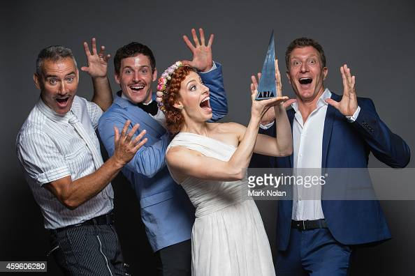 Anthony Field Lachlan Gillespie Emma Watkins and Simon Pryce of the Wiggles pose for a portrait during the 28th Annual ARIA Awards 2014 at the Star...
