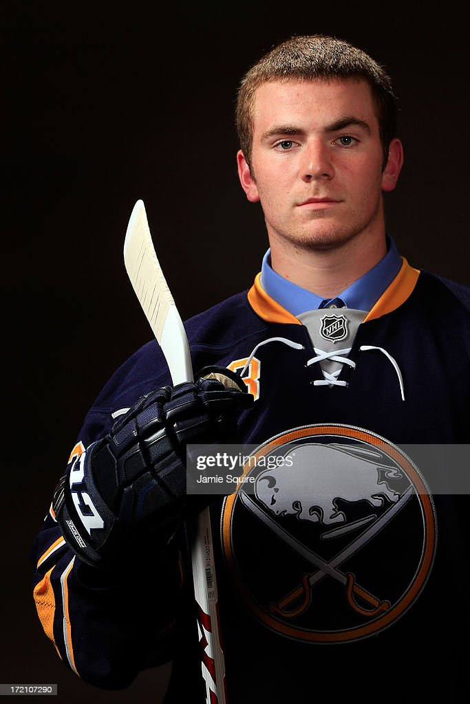 Anthony Florentino, 143rd pick overall by the Buffalo Sabres, poses for a portrait during the 2013 NHL Draft at the Prudential Center on June 30, 2013 in Newark, New Jersey.