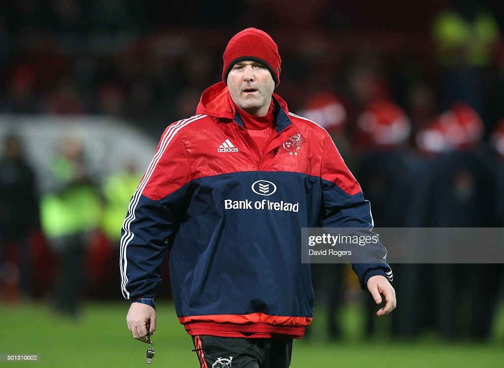 Anthony Foley, the Munster head coach looks on during the European Rugby Champions Cup match between Munster and Leicester Tigers at Thomond Park on December 12, 2015 in Limerick, Ireland.