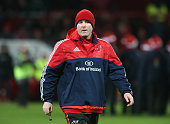 Anthony Foley the Munster head coach looks on during the European Rugby Champions Cup match between Munster and Leicester Tigers at Thomond Park on...