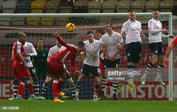 Anthony Forde of Walsall scores the opening goal during the Johnstone's Paint Northern Area Final First Leg match between Preston North End and...