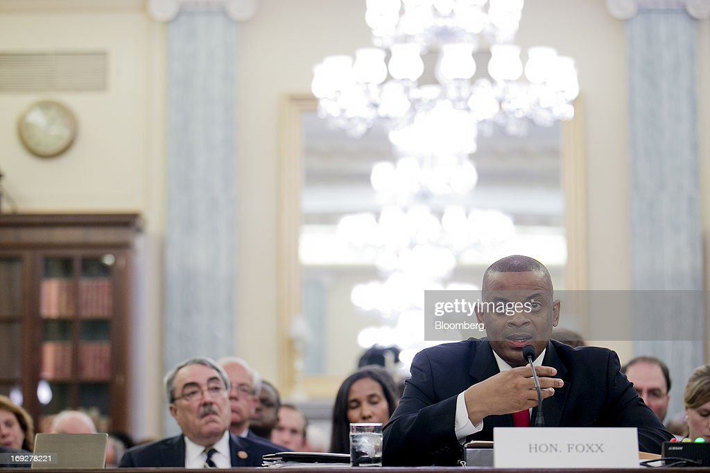 Anthony Foxx, mayor of Charlotte, North Carolina and U.S. President Barack Obama's nominee as secretary of transportation, speaks during a Senate Transportation Committee hearing in Washington, D.C., U.S., on Wednesday, May 22, 2013. President Barack Obama said Foxx will press ahead as transportation secretary with the administration's goals to rebuild and expand the nation's infrastructure. Photographer: Andrew Harrer/Bloomberg via Getty Images