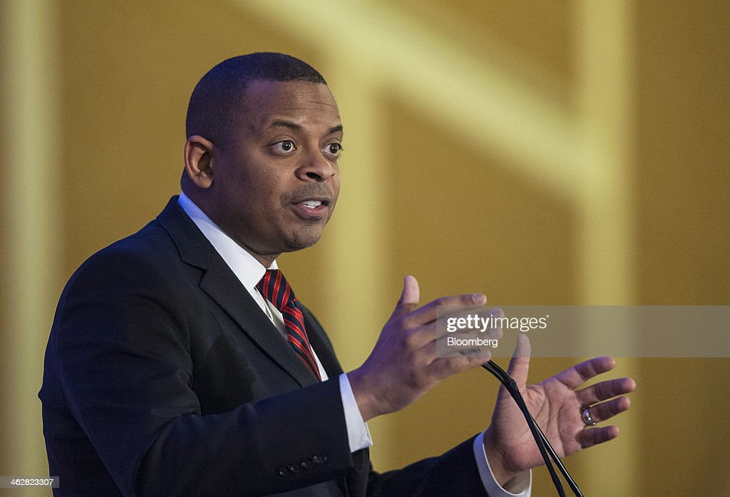 Anthony Foxx, U.S. secretary of transportation, gives a keynote speech at the National Research Council's Transportation Research Board annual meeting in Washington, D.C., U.S., on Wednesday, Jan. 15, 2014. Foxx said the department's Highway Trust Fund, financed by gasoline and diesel fuel taxes to pay for highway, bridge and mass transit projects, may 'start bouncing checks' by August. Photographer: Pete Marovich/Bloomberg via Getty Images