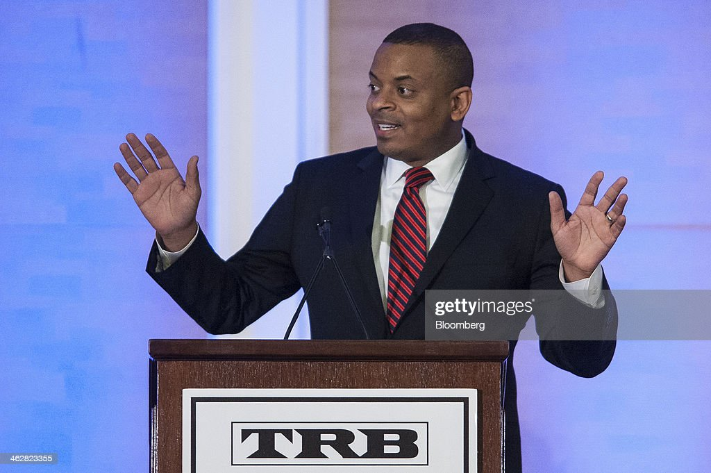 <a gi-track='captionPersonalityLinkClicked' href=/galleries/search?phrase=Anthony+Foxx&family=editorial&specificpeople=7128225 ng-click='$event.stopPropagation()'>Anthony Foxx</a>, U.S. secretary of transportation, gives a keynote speech at the National Research Council's Transportation Research Board annual meeting in Washington, D.C., U.S., on Wednesday, Jan. 15, 2014. Foxx said the department's Highway Trust Fund, financed by gasoline and diesel fuel taxes to pay for highway, bridge and mass transit projects, may 'start bouncing checks' by August. Photographer: Pete Marovich/Bloomberg via Getty Images