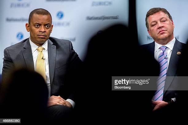 Anthony Foxx US transportation secretary left and Representative William 'Bill' Shuster a Republican from Pennsylvania listen to a question during a...