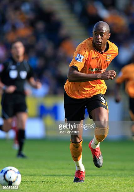 Anthony Gardner of Hull City during the Barclays Premier League match between Hull City and Liverpool at the KC Stadium on May 9 2010 in Hull England