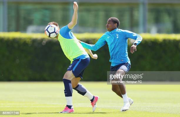 Anthony Georgiou and Kyle WalkerPeters of Tottenham during the Tottenham Hotspur training session at Tottenham Hotspur Training Centre on August 17...