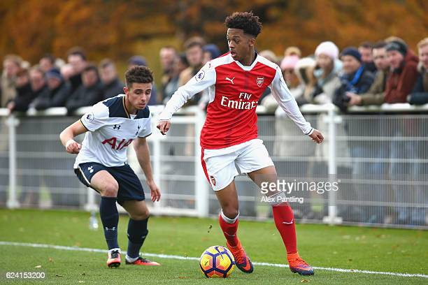 Anthony Georgiou of Tottenham Hotspur and Chris Willock of Arsenal in action during the Premier League 2 match between Tottenham Hotspur and Arsenal...