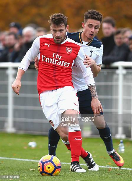 Anthony Georgiou of Tottenham Hotspur closes down Mathieu Debuchy of Arsenal during the Premier League 2 match between Tottenham Hotspur and Arsenal...