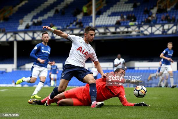 Anthony Georgiou of Tottenham Hotspur competes for the ball with Joel Robles of Everton during the Premier League 2 match between Everton and...