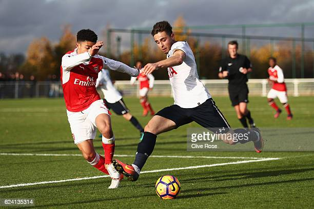 Anthony Georgiou of Tottenham Hotspur crosses the ball during the Premier League 2 match between Tottenham Hotspur and Arsenal at Tottenham Hotspur...