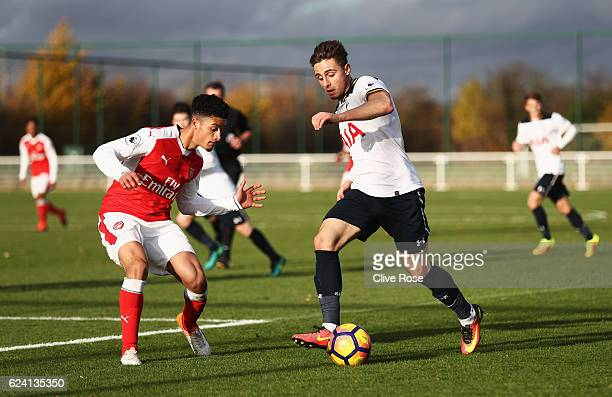 Anthony Georgiou of Tottenham Hotspur in action during the Premier League 2 match between Tottenham Hotspur and Arsenal at Tottenham Hotspur Training...