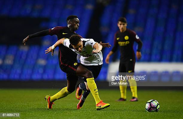 Anthony Georgiou of Tottenham Hotspur is fouled by Rodney Kongolo of Manchester City during the Premier League 2 match between Tottenham Hotspur and...