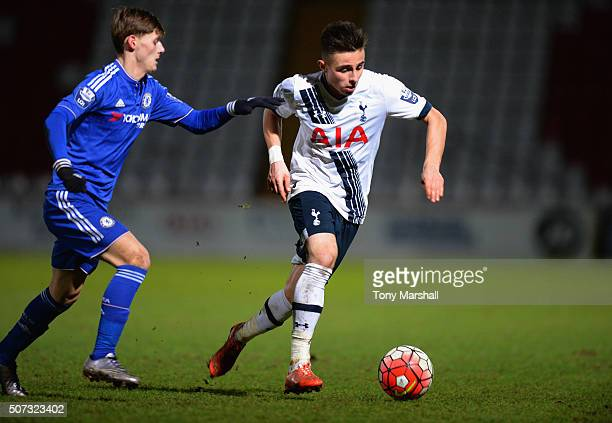 Anthony Georgiou of Tottenham Hotspur pushes forward during the Barclays U21 Premier League International Cup match between Tottenham Hotspur U21 and...