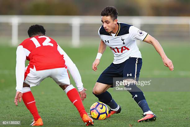 Anthony Georgiou of Tottenham Hotspur takes on Chiori Johnson of Arsenal during the Premier League 2 match between Tottenham Hotspur and Arsenal at...