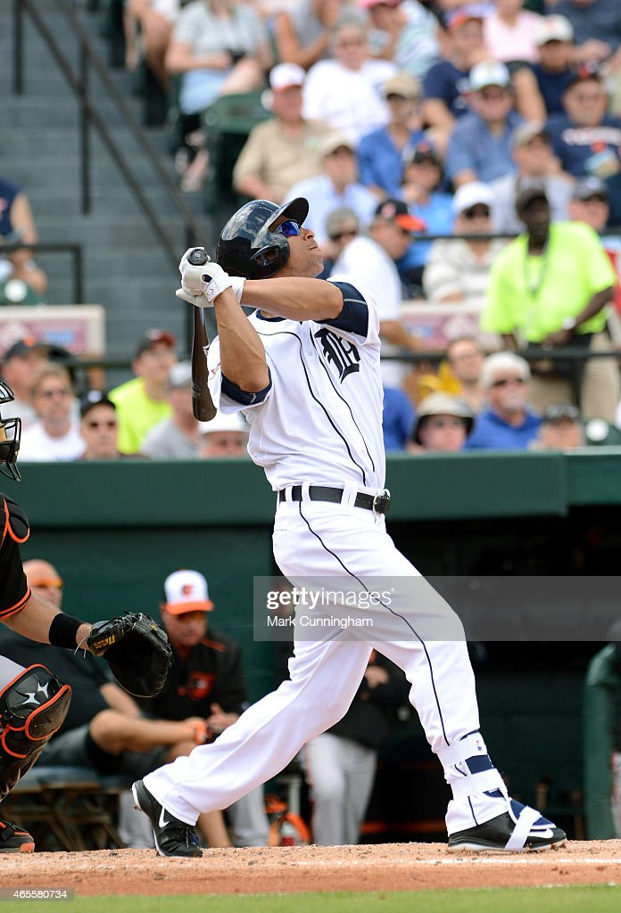 Anthony Gose #12 of the Detroit Tigers bats during the Spring Training game against the Baltimore Orioles at Joker Marchant Stadium on March 3, 2015 in Lakeland, Florida. The Tigers defeated the Orioles 15-2.