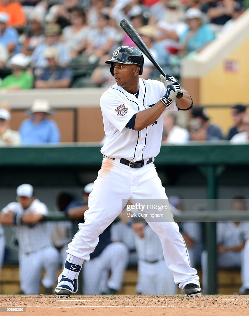 Anthony Gose #12 of the Detroit Tigers bats during the Spring Training game against the Philadelphia Phillies at Joker Marchant Stadium on March 14, 2015 in Lakeland, Florida. The Phillies defeated the Tigers 5-4.