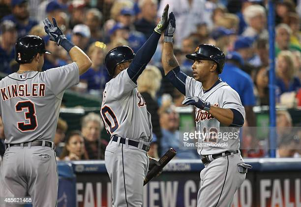 Anthony Gose of the Detroit Tigers is congratulated by Rajai Davis after hitting a tworun home run in the seventh inning during MLB game action...