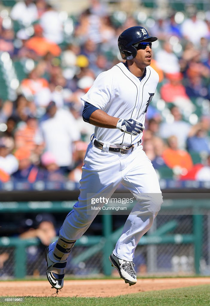 Anthony Gose #12 of the Detroit Tigers runs to first base during the first game of a doubleheader against the Chicago White Sox at Comerica Park on September 21, 2015 in Detroit, Michigan. The White Sox defeated the Tigers 2-0.
