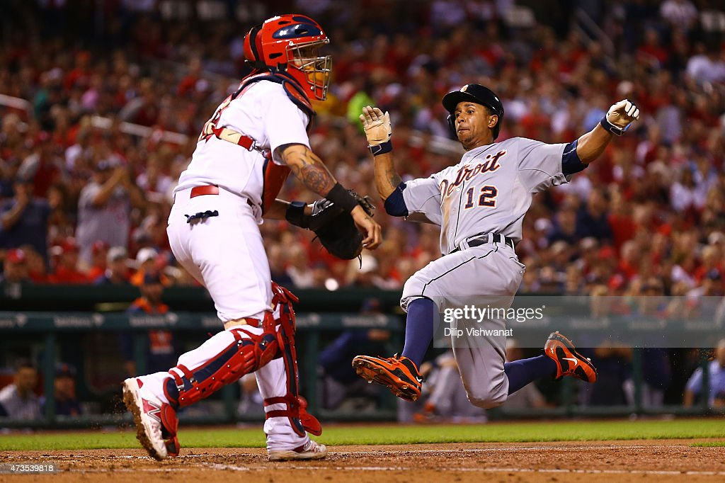 Anthony Gose #12 of the Detroit Tigers scores a run against the St. Louis Cardinals in the fifth inning at Busch Stadium on May 15, 2015 in St. Louis, Missouri.