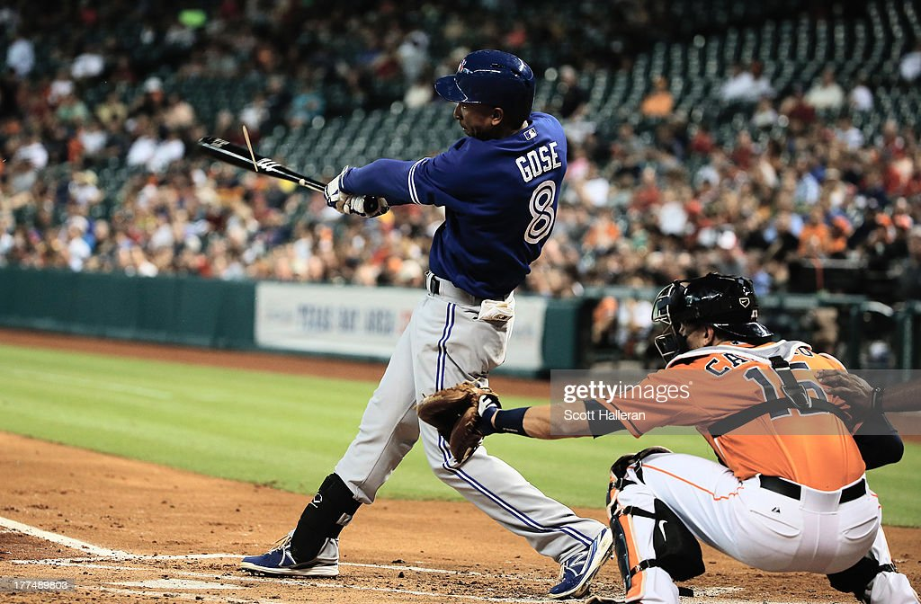 Anthony Gose #8 of the Toronto Blue Jays breaks his bat in the first inning against the Houston Astros at Minute Maid Park on August 23, 2013 in Houston, Texas.