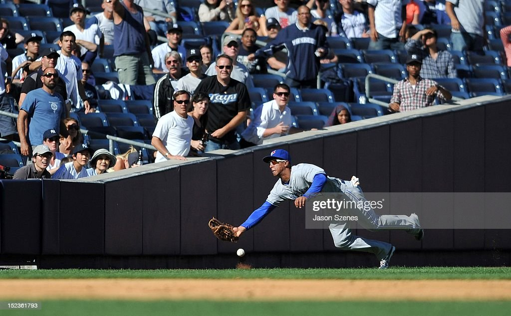 Anthony Gose #43 of the Toronto Blue Jays can't come up with a catch on a ground rule double to left field by New York Yankees Ichiro Suzuki in the ninth inning during the first game of a double header at Yankee Stadium on September 19, 2012 in the Bronx borough of New York City.