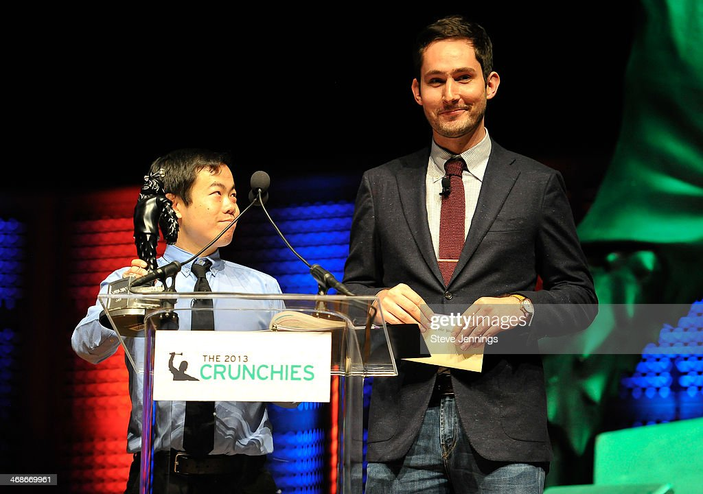 Anthony Ha of TechCrunch and Kevin Systrom of Instagram (L-R) present at the 7th Annual Crunchies Awards at Davies Symphony Hall on February 10, 2014 in San Francisco, California.