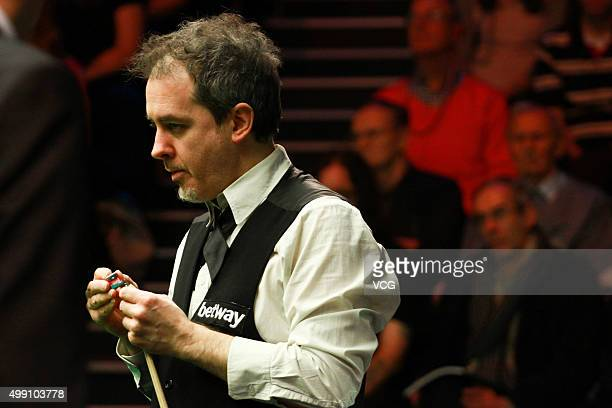 Anthony Hamilton of England reacts during a match against Stuart Bingham of England in their second round matches on day four of Betway UK...