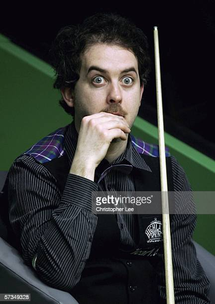 Anthony Hamilton pulls a face as he plays against Mark Wiliams MBE during the First Round of 888com World Snooker Championships at the Crucible...