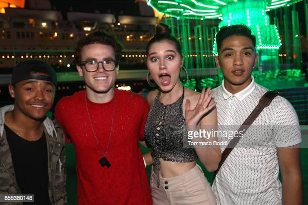 Anthony Harris Justin Tinucci Serena Laurel and Mayson Elliott attend the Queen Mary's Dark Harbor Media VIP Preview Event on September 28 2017 in...