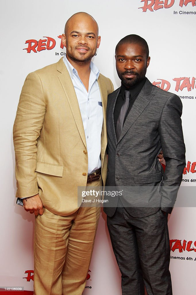 Anthony Hemingway and David Oyelowo attend a gala screening of Red Tails at The Mayfair Hotel on May 23 2012 in London England