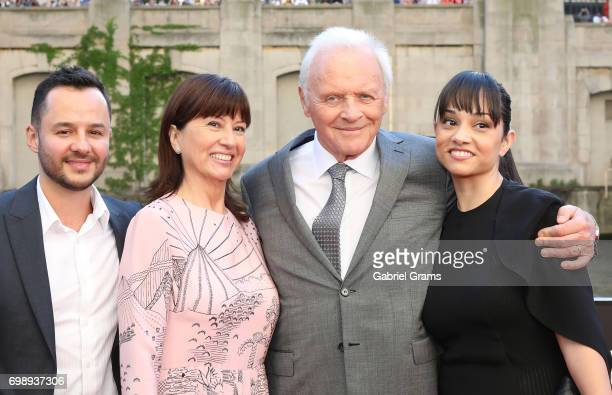 Anthony Hopkins and wife Stella Arroyave arrive for the premiere of 'Transformers The Last Knight' at Civic Opera Building on June 20 2017 in Chicago...
