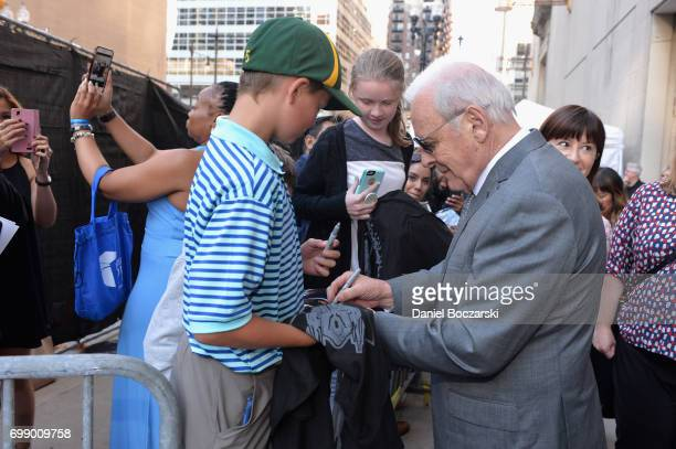 Anthony Hopkins signs autographs at the US premiere of 'Transformers The Last Knight' at the Civic Opera House on June 20 2017 in Chicago Illinois