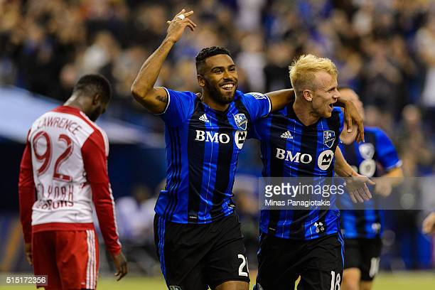 Anthony JacksoHamel of the Montreal Impact celebrates his second half goal with teammate Kyle Bekker during the MLS game against the New York Red...