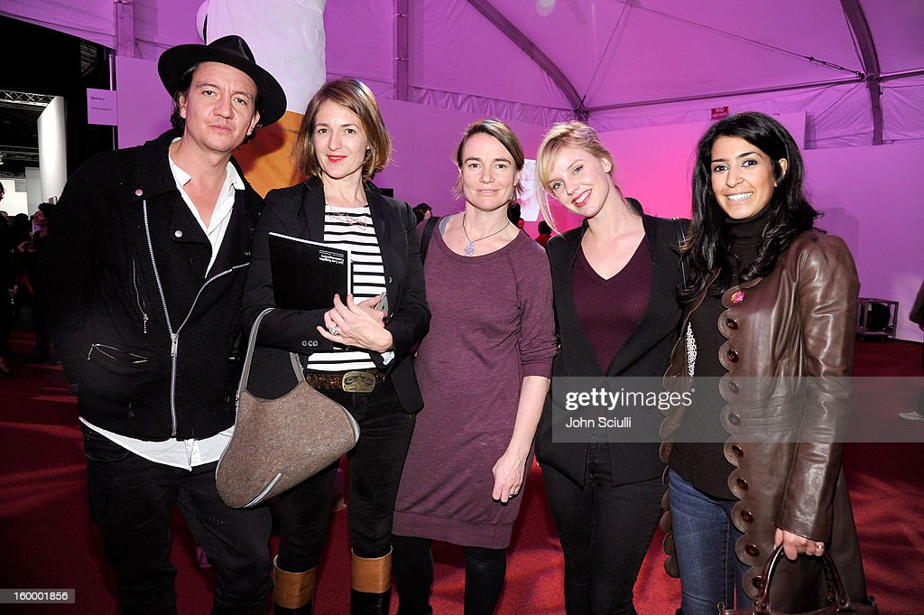 Anthony James, Emma Gray, Clare Brew, Kelly Garner and Yasmine Rahimzadeh attend Art Los Angeles Contemporary opening night at Barker Hangar on January 24, 2013 in Santa Monica, California.