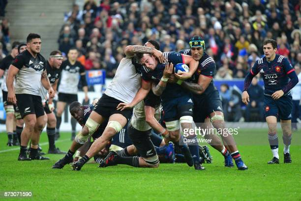 Anthony Jelonch of France is tackled by Vaea Fifita of New Zealand during the test match between France and New Zealand at Stade de France on...
