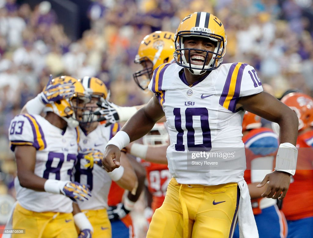 Anthony Jennings of the LSU Tigers reacts to a touchdown during the first quarter against the Sam Houston State Bearkats at Tiger Stadium on...