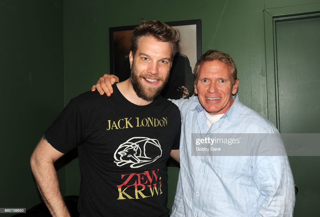 Anthony Jeselnik and Vinnie Brand backstage at The Stress Factory Comedy Club on October 12, 2017 in New Brunswick, New Jersey.
