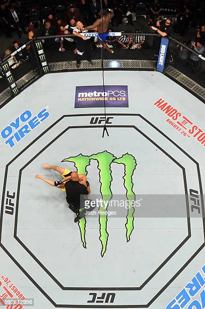 Anthony Johnson celebrates after defeating Glover Teixeira of Brazil in their light heavyweight bout during the UFC 202 event at TMobile Arena on...