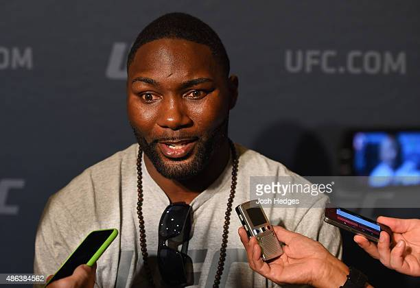 Anthony Johnson interacts with media during the UFC 191 Ultimate Media Day at MGM Grand Hotel Casino on September 3 2015 in Las Vegas Nevada