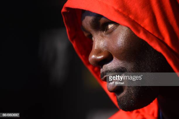 Anthony Johnson interacts with media during the UFC 210 Ultimate Media Day inside the KeyBank Center on April 5 2017 in Buffalo New York