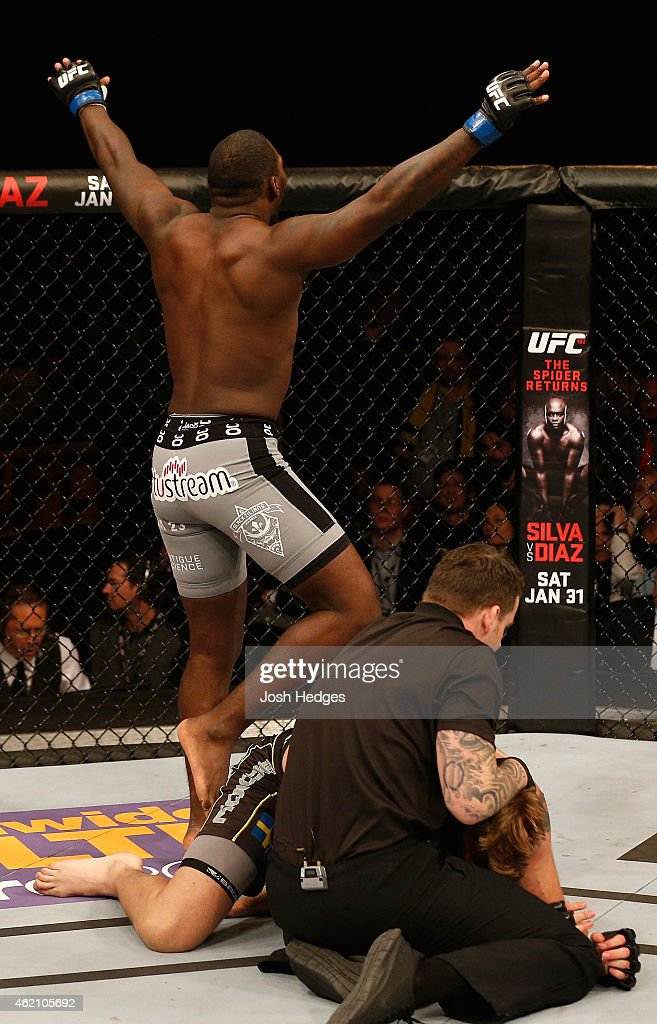 Anthony Johnson of the United States celebrates after his knockout victory over Alexander Gustafsson of Sweden in their light heavyweight bout during the UFC Fight Night event at the Tele2 Arena on January 24, 2015 in Stockholm, Sweden.