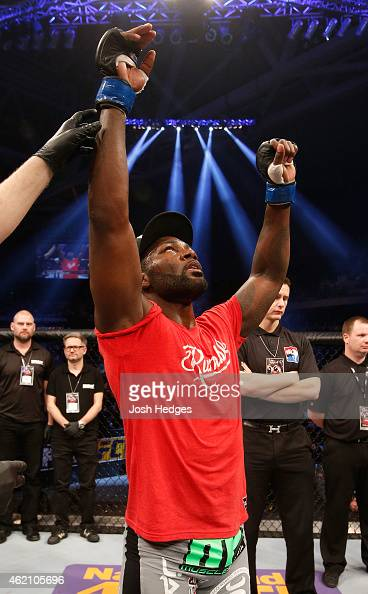 Anthony Johnson of the United States celebrates after his knockout victory over Alexander Gustafsson of Sweden in their light heavyweight bout during...