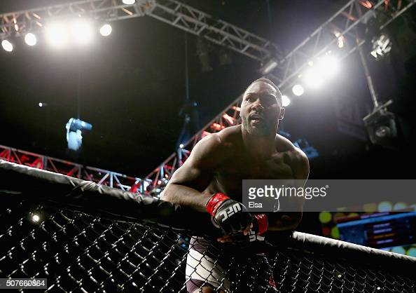 Anthony Johnson of the United States celebrates his win by TKO against Ryan Bader of the United States in the first round of their light heavyweight...